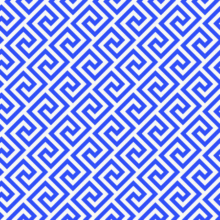 Illustration pour Geometric line. abstract seamless pattern with Greek antique motif. Vector illustration. Abstract background for the fabric cloth, fashion, ceramic floor, ornament textile, texture. blue porcelain - image libre de droit