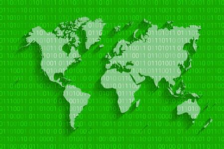 Illustration pour World cyber security map, digital technology background. - image libre de droit