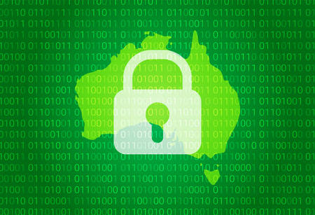 Illustration pour Map of Australia. vector illustration with lock and binary code background. internet blocking,virus attack, privacy protect - image libre de droit
