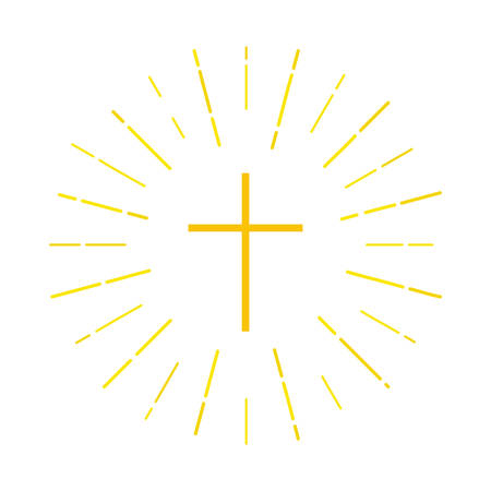 Illustration for Cross icon. Christian symbol in yellow on a blue background with rays of light. Vector illustration for the religious organization, brochures, leaflets, book. - Royalty Free Image