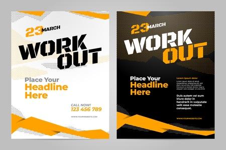 Illustration pour Vector layout design template for workout or other sport event. - image libre de droit