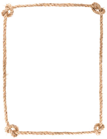 Photo pour rope knot frame isolated on white background - image libre de droit