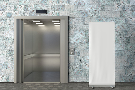 Foto de Blank roll up banner stand in office lobby with opened elevator. Include clipping path around ad banner. 3d render - Imagen libre de derechos