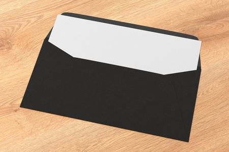 Foto de Black blank envelope with blank letter inside on wooden background. 3d render - Imagen libre de derechos