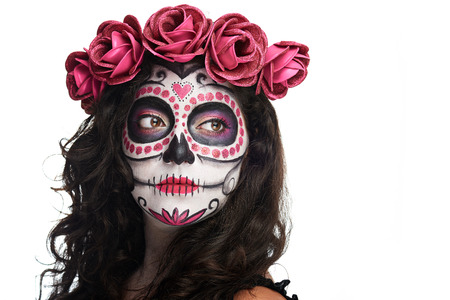 Photo pour catrina skull makeup for halloween isolated on white background - image libre de droit