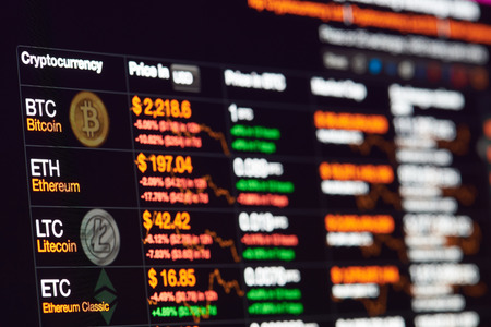 Foto de New york, USA - July 14, 2017: Bitcoin exchange to dollar rate on monitor display. Cryptocurrency invest chart - Imagen libre de derechos