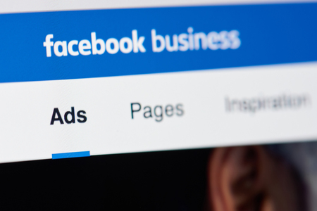 Photo pour New york, USA - April 26, 2018: Facebook business page for advertising on laptop screen close-up - image libre de droit