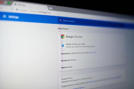 Foto de New york, USA - May 25, 2018: Google chrome internet browser menu on laptop screen close up - Imagen libre de derechos