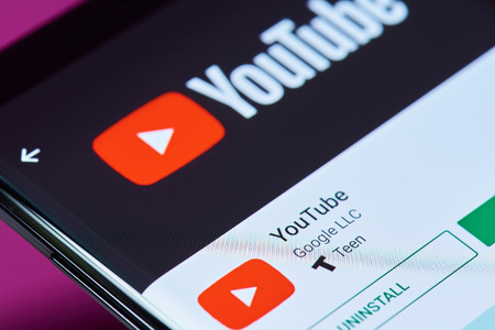 Photo for New york, USA - June 10, 2018: Youtube application on android smartphone screen close up view - Royalty Free Image