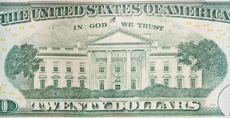 Foto de Back of 20 dollar bill close up view. Money theme - Imagen libre de derechos