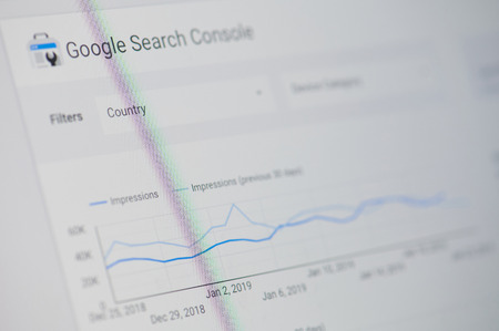 Photo for New york, USA - january 24, 2019: Google search console menu on device screen pixelated close up view - Royalty Free Image