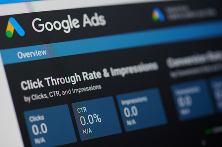 Foto de New york, USA - january 24, 2019: Google ads menu on device screen pixelated close up view - Imagen libre de derechos