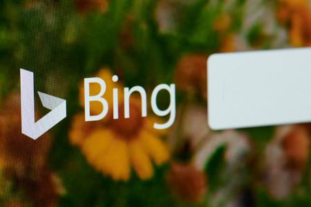 Foto de New york, USA - april 22, 2019: Bing search home page on laptop screen close up - Imagen libre de derechos