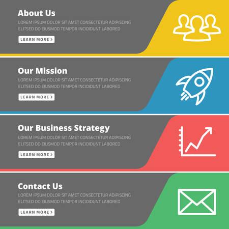 Illustration pour Flat design concept for website template - about us, our mission, business strategy, contact - image libre de droit