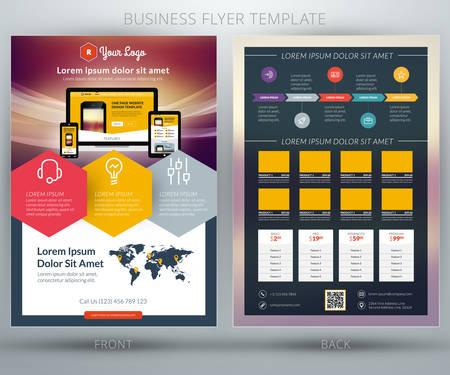 Illustration pour Vector business flyer template. For mobile application or online shop - image libre de droit