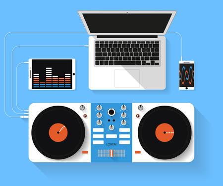Illustration pour Flat design vector illustration of dj workspace. Top view of desk background with laptop, mixer, tablet pc and smartphone - image libre de droit
