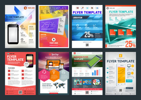 Ilustración de Set of abstract vector business flyer brochure design template - Imagen libre de derechos
