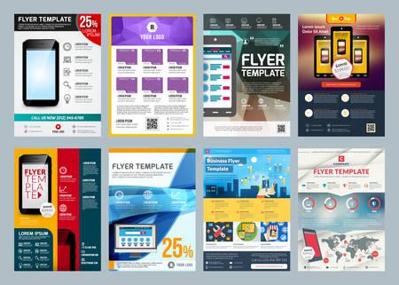 Ilustración de Set of abstract vector business flyer brochure design template - Imagen libre de derechos