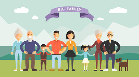 Illustrazione per Big Happy Family. Parents with Children. Father, mother, children, grandpa, grandma - Immagini Royalty Free