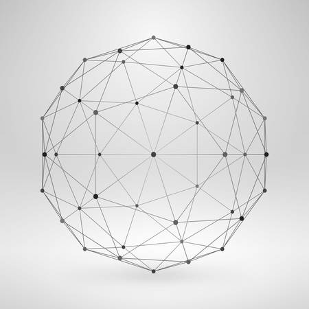 Illustration pour Wireframe Polygonal Element. 3D Sphere with Lines and Dots - image libre de droit