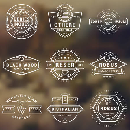 Illustration pour Set of Hipster Vintage Labels, Logotypes, Badges for Your Business. Thin Line Design Template - image libre de droit