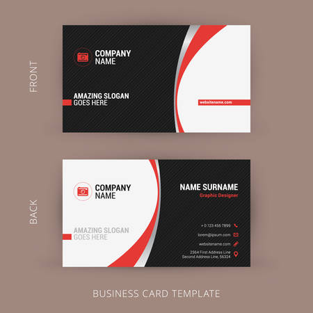 Illustration pour Creative and Clean Business Card Template. Black and Red Colors - image libre de droit