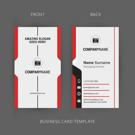 Illustration for Creative and Clean Business Card Template. Vertical Template - Royalty Free Image