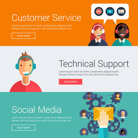Illustration pour Customer Service. Technical Support. Social Media. Flat Design Vector Illustration Concepts for Web Banners and Promotional Materials - image libre de droit