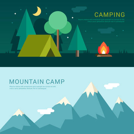 Illustration pour Camping and Mountain Camp. Vector Illustration in Flat Design Style for Web Banners or Promotional Materials - image libre de droit