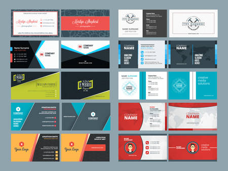 Photo pour Set of Modern Creative and Clean Business Card Design Print Templates. Flat Style Vector Illustration - image libre de droit