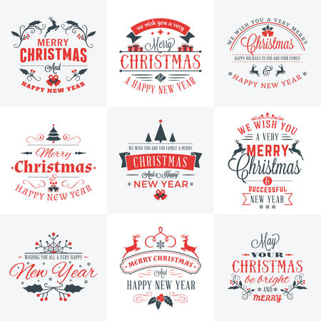 Illustration pour Set of Merry Christmas and Happy New Year Decorative Badges for Greetings Cards or Invitations. Vector Illustration in Red and Gray Colors - image libre de droit