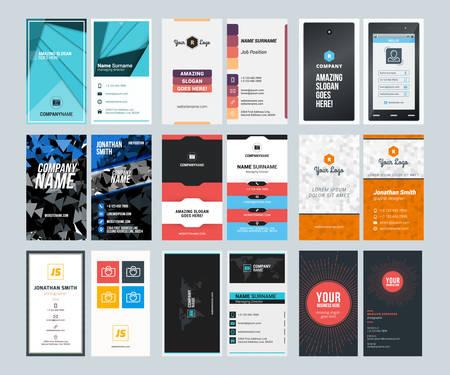 Illustration pour Set of Creative Vertical Business Card Print Templates. Flat Style Vector Illustration. Stationery Design - image libre de droit