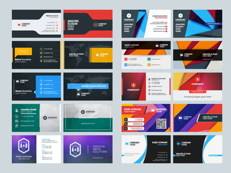 Illustration pour Set of Creative and Clean Business Card Print Templates. Flat Style Vector Illustration. Stationery Design - image libre de droit
