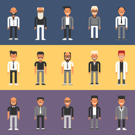 Set of Flat Design People Characters. Male Characters Set. Businessmen