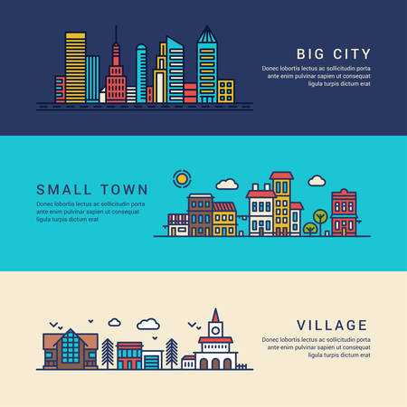 Illustration pour Big City, Small Town and Village. Flat Style Line Art Vector Conceptual Illustration for Web Banners or Promotional Materials - image libre de droit
