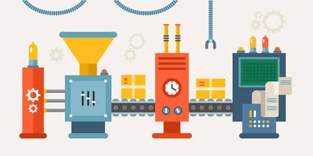 Ilustración de Conveyor System with Manipulators. Flat Style Vector illustration - Imagen libre de derechos