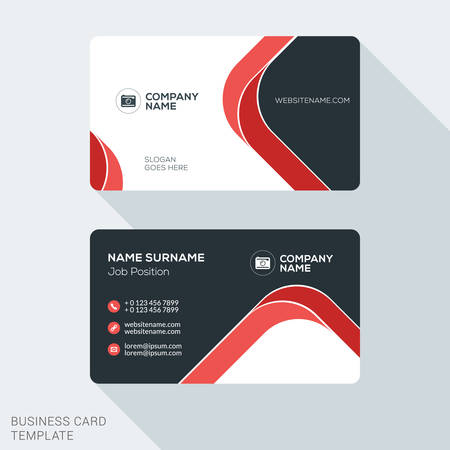 Illustration pour Creative and Clean Business Card Template. Flat Design Vector Illustration. Stationery Design - image libre de droit
