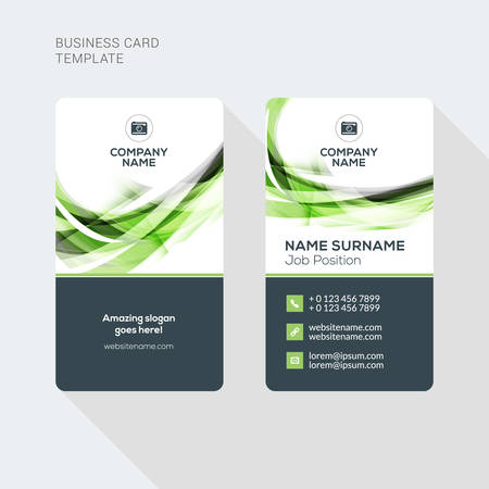 Ilustración de Modern Creative and Clean Two Sided Business Card Template. Flat Style Vector Illustration. Vertical Visiting or Business Card Template. Stationery Design - Imagen libre de derechos