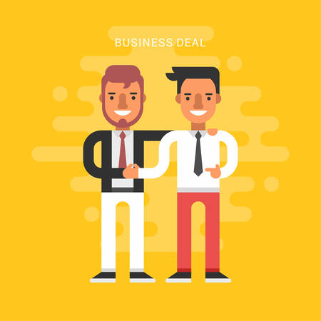 Illustration pour Flat Design Style Vector Illustration Concept of Successful Partnership. Business People Cooperation Agreement, Business Deal and Handshake of Two Businessman Isolated - image libre de droit