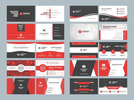 Illustration pour Business card templates. Stationery design vector set. Red and black colors. Flat style vector illustration - image libre de droit