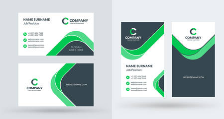 Illustration pour Double-sided creative business card template. Portrait and landscape orientation. Horizontal and vertical layout. Vector illustration - image libre de droit