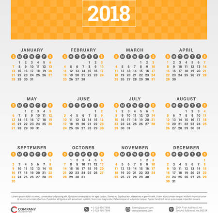 Illustration for Calendar for 2018 year. Vector design template. Week starts on Sunday. Vector illustration - Royalty Free Image
