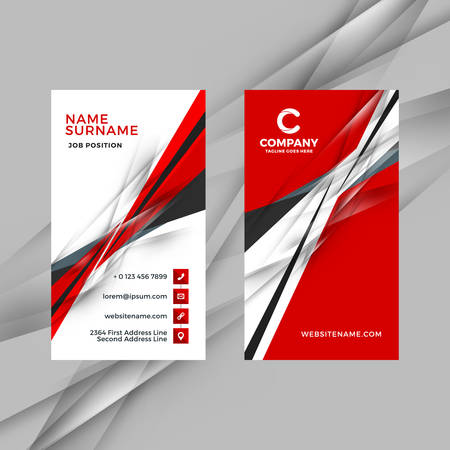 Ilustración de Vertical double-sided red and black business card template. Vector illustration. Stationery design - Imagen libre de derechos