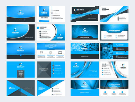 Ilustración de Double sided business card templates. Blue color theme. Stationery design vector set. Vector illustration - Imagen libre de derechos