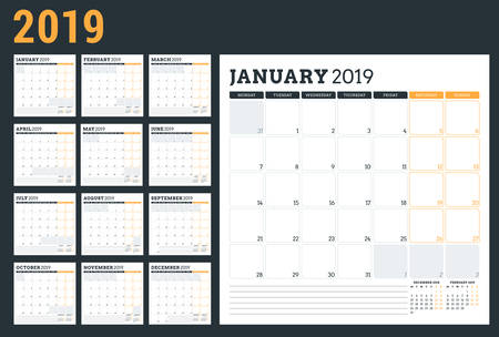 Illustration for Calendar planner for 2019 year. Week starts on Monday. Set of 12 months. Printable vector stationery design template - Royalty Free Image