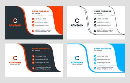 Illustration pour Creative Business Card Template. Flat Design Vector Illustration. Stationery Design. 4 Color Combinations. Print Template - image libre de droit