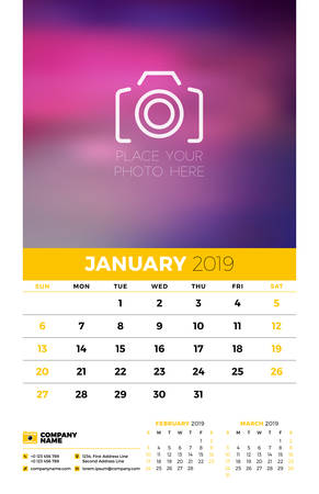 Illustration for Wall calendar planner template for 2019 year. 3 months on the page. January, February, March. Week starts on Sunday. Vector illustration - Royalty Free Image