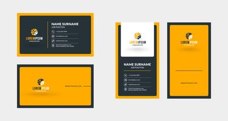 Illustration pour Double-sided creative business card template. Portrait and landscape orientation. Horizontal and vertical layout. Vector illustration - image libre de droit