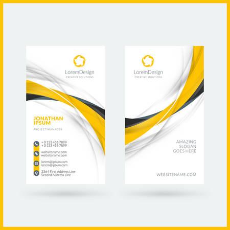 Illustration pour Vertical double-sided business card template. Vector illustration. Stationery design - image libre de droit