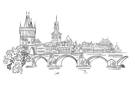 Illustration pour Panorama of Prague. View of Charles Bridge and the Vltava river embankment.Czech Republic. Vector illustration. - image libre de droit